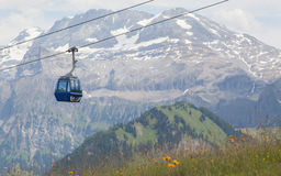 Lenk im Simmental, Switzerland - July 12, 2015: Ski lift in moun Stock Photos