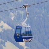 Lenk im Simmental, Switzerland - July 12, 2015: Ski lift in moun Royalty Free Stock Photo