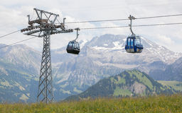 Lenk im Simmental, Switzerland - July 12, 2015: Ski lift in moun. Tain during the summer. The village is located in the canton Bern, Lenk, August 12, 2015 Stock Photo
