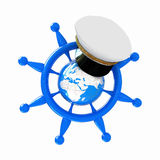 Lenkrad mit Erde und Marinekappe. Konzept der Reise auf der ganzen Welt Lizenzfreies Stockfoto