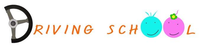 Lenkrad mit orange Farbe des Fahrschule-Aufklebers Stockfotografie