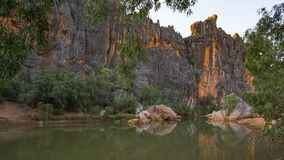 The Lennard River carves a stunning canyon through the Napier Ra. Rudyards Kipling`s story `The Elephant Child,` comes to mind every time I visit Windjana Gorge Stock Photography