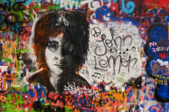Lennon wall in Prague Royalty Free Stock Photo