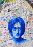 Lennon Wall, Prague. A landmark in the Czech Republic; a wall covered in graffiti commemorates the late John Lennon Royalty Free Stock Image