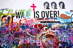 Lennon Wall in Prague's Lesser Town, which is a reference to singer John Lennon from the 70s of the 20th century there are inscrip Stock Photo