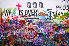 Lennon Wall in Prague's Lesser Town, which is a reference to singer John Lennon from the 70s of the 20th century there are inscrip Stock Images