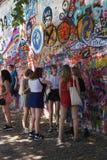 Lennon Wall, symbol of Prague resistance. PRAGUE - AUG 31, 2016 - Lennon Wall, symbol of Prague resistance to communism, overlaid graffiti, Prague, Czech Royalty Free Stock Photo