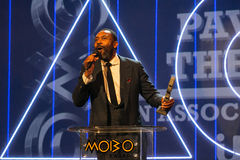 Lenny Henry. Receiving his award at the 2015 MOBO awards, Leeds First Direct Arena, UK Royalty Free Stock Image