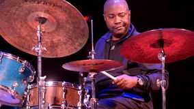 Lenny White at the drums. Novosibirsk, Russia - October 23, 2014: American jazz fusion drummer Lenny White during the sound check on Sib Jazz Fest. The festival