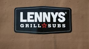 Lennys Grill and Subs. Lennys Subs serves a variety of hot gourmet sub sandwiches. Made with premium meats and cheeses, steamed hot and piled high on a toasted Royalty Free Stock Images