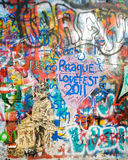 Lennon's wall in Prague. This place was called wailling wall in 70's, it was symbol of protest against communism, and unofficial memorial of John Lennon, after Royalty Free Stock Image