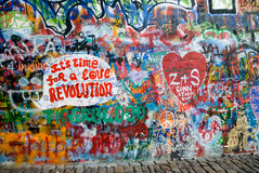 Lenon's wall in Prague Stock Photos