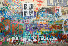 Lennon's wall in Prague. This place was called wailling wall in 70's, it was symbol of protest against communism, and unofficial memorial of John Lennon, after Royalty Free Stock Images