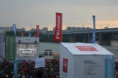 Lenovo vibe fest: Extreme sports, music and technics festival in Novosibirsk, Russia. NOVOSIBISRK - AUG 22, 2015: Lenovo vibe fest: Extreme sports, music and Stock Photos