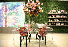 Lenox by Mello Tablescape flower decoration during famous Macy's Annual Flower Show Royalty Free Stock Image
