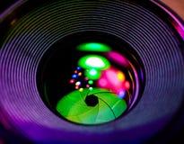 Lens öppning och ljus reflexion royaltyfria foton