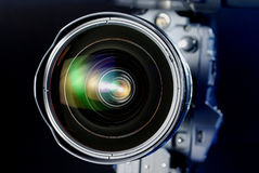 Lens. Close-up of high quality professional HD film style lens Royalty Free Stock Images