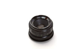 Lens. Black old lens isolated on white background Stock Images