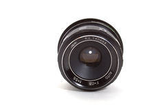 Lens. Black old lens isolated on white background Stock Photo