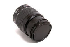 Lens. Black lens with cover isolated on white background Royalty Free Stock Photo