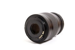 Lens. Black lens with cover isolated on white background Stock Image
