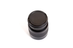 Lens. Black lens with cover isolated on white background Royalty Free Stock Images