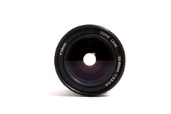 Lens. Black lens with cover isolated on white background Stock Photography