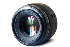 Lens. A fixed focal length 50 mm. lens Royalty Free Stock Image
