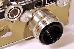 Lens on a 35mm film camera Royalty Free Stock Photography