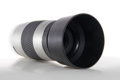 Lens. Modern Camera Lens on a white background royalty free stock photo