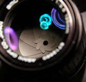 Through the lens. Close-up of a camera lens royalty free stock photo