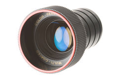 Lens. A single lens with light reflections, on white Stock Image