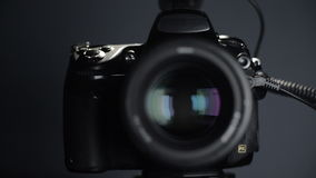 Lens aperture is closed, close-up. Lens aperture is closed when the camera shutter is triggered, close-up stock video footage