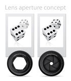 Lens aperture conept Stock Photos