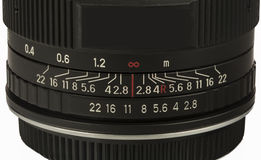 Lens aperture and focusing scale on white Royalty Free Stock Image