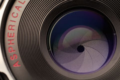 Lens and Aperture. Macro shot of camera lens and aperture stock photography