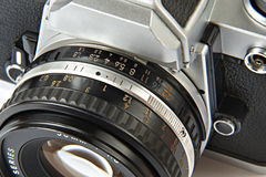 Lens and aperture of vintage SLR camera Royalty Free Stock Image