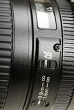Lens auto-focus. Close up of AF lens,Canon lens Stock Image