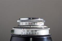 Lens av en gammal kamera Fotografering för Bildbyråer
