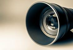 Lens av en makro för SLR kameranärbild Gammalt retro stilfoto Royaltyfri Foto