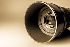 Lens av en makro för SLR kameranärbild i solljus Gammalt retro stilfoto Arkivfoto