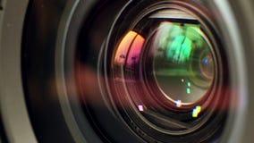 Lens av kameran stock video