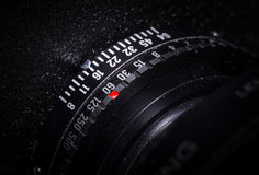 Lens barrel of view camera with exposure selection. Royalty Free Stock Photo