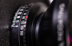 Lens barrel of view camera with exposure selection. Royalty Free Stock Images