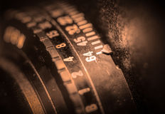 Lens barrel of view camera Royalty Free Stock Photography