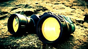 Lens. A binoculars with a yellow lens looks awesome Royalty Free Stock Photo