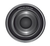 Lens camera. Gray and black lens camera isolated over white background. vector Stock Images