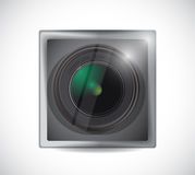 Lens camera app button illustration. Design over white Royalty Free Stock Photo