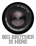 Lens camera big brother is here. A camera lens with the text big brother is here, referring to George Orwell`s novel, 1984 Royalty Free Stock Photos