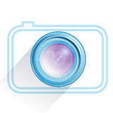 Lens, camera icon, blue. Vector Royalty Free Stock Photo